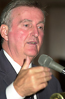 Montreal, October 16, 2001 File Photo <br /> <br />  Montreal Mayor Pierre Bourque  deliver a campaign speech in front of members of the Montreal Young Chamber of Commerce, october 16th  2001, in Montreal, Canada<br /> <br />  Bourque was defeated by opponent Gerald Tremblay  in the Nov 4th, 2001 municipal elections<br /> <br /> Photo by Pierre Roussel -Images Distribution<br /> NOTE :  D-1 Uncorrected JPEG opened with QUIMAGE profile, saved in Adobe 1998 RGB color spaceMontreal (Qc) CANADA - File Photo -