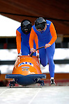 19 November 2005: Edwin Van Calker  pilots the Netherlands 2 sled to a 26th place tie finish at the 2005 FIBT AIT World Cup Men's 2-Man Bobsleigh Tour at the Verizon Sports Complex, in Lake Placid, NY. Mandatory Photo Credit: Ed Wolfstein.
