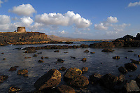 Old castle, fortress at dusk, Playa del Castillo, El Cotillo, Fuerteventura, Canary Islands, Spain.