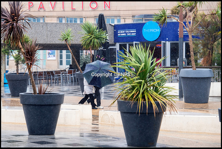 BNPS.co.uk (01202 558833)<br /> Pic: PhilYeomans/BNPS<br /> <br /> Rank Holiday Sunday....<br /> <br /> The growing trend for staycation's has taken a battering today as rain and gales swept in on the August bank holiday sunday.<br /> <br /> Holidaymakers in Bournemouth queued to get into the Oceanariam aquarium as ironically it was the driest place on the rain lashed seafront.