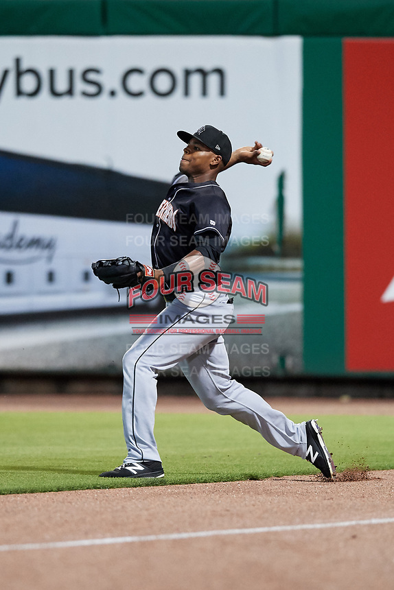 Jupiter Hammerheads right fielder Stone Garrett (11) throws back to the infield during a game against the Clearwater Threshers on April 12, 2018 at Spectrum Field in Clearwater, Florida.  Jupiter defeated Clearwater 8-4.  (Mike Janes/Four Seam Images)