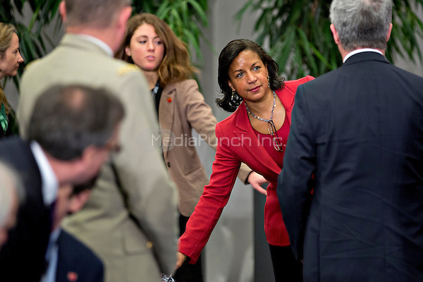 Susan Rice, United States national security advisor, arrives to the P5+1 multilateral meeting at the Nuclear Security Summit in Washington, D.C., U.S., on Friday, April 1, 2016.  After a spate of terrorist attacks from Europe to Africa, U.S. President Barack Obama is rallying international support during the summit for an effort to keep Islamic State and similar groups from obtaining nuclear material and other weapons of mass destruction. <br /> Credit: Andrew Harrer / Pool via CNP/MediaPunch