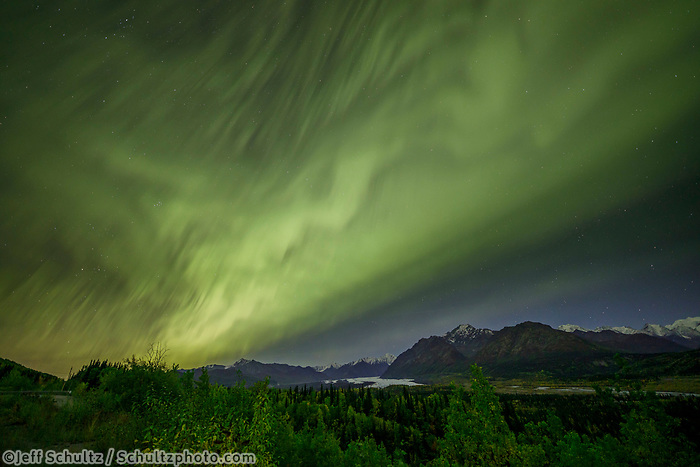 Fall landscape of Auora (Northern Lights) over Chugach Mountains and Matanuska Glacier in Matanuska Valley... Southcentral, Alaska<br /> <br /> Photo by Jeff Schultz/SchultzPhoto.com  (C) 2018  ALL RIGHTS RESERVED