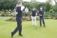 NO REPRO FEE. 27/9/2010. SBHI GOLF CLASSIC. L-R. Packie Bonner, Babs Keatingand George Kennedy CEO SBHI are pictured teeing off as they aim for a hole in one at the Annual Packie Bonner Spina Bifida Hydrocephalus Ireland Golf Classic which took place in Palmerstown House Estate, at Johnstown, County Kildare. Pictrure James Horan/Collins