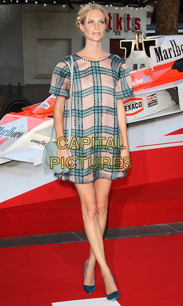 Poppy Delevingne<br /> The World Premiere of 'Rush' at the Odeon Leicester Square, London, England.<br /> September 2nd, 2013<br /> full length dress hair up braid plait green pink check <br /> CAP/ROS<br /> &copy;Steve Ross/Capital Pictures