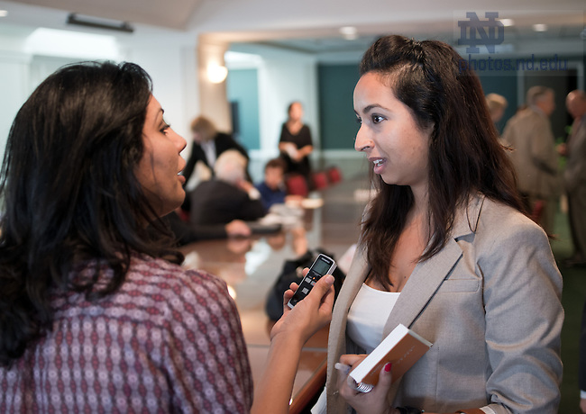 Sep 26, 2012; Engy Said answers questions for a reporter at a presentation on Egypt at the Woodrow Wilson Center in Washington D.C.. Said was doing an internship at the Institute for Multitrack Diplomacy in Arlington, VA...Photo by Matt Cashore/University of Notre Dame