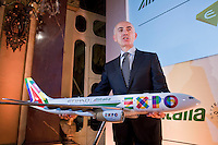 Rome, January 20 ,2015. Silvano Cassano, Ceo di Alitalia durante la conferenza stampa per la presentazione della nuova partnership tra Aliatalia e Gruppo Etihad. Silvano Cassan, Ceo of Alitalia attends the press conference to promote the new Alitalia service.