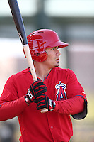 Tommy Field #12 of the Los Angeles Angels waits to bat during a Minor League Spring Training Game against the Oakland Athletics at the Los Angeles Angels Spring Training Complex on March 17, 2014 in Tempe, Arizona. (Larry Goren/Four Seam Images)