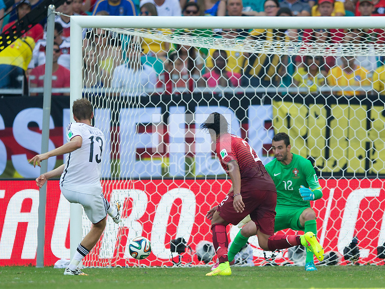 Thomas Muller of Germany scores a goal to make it 3-0
