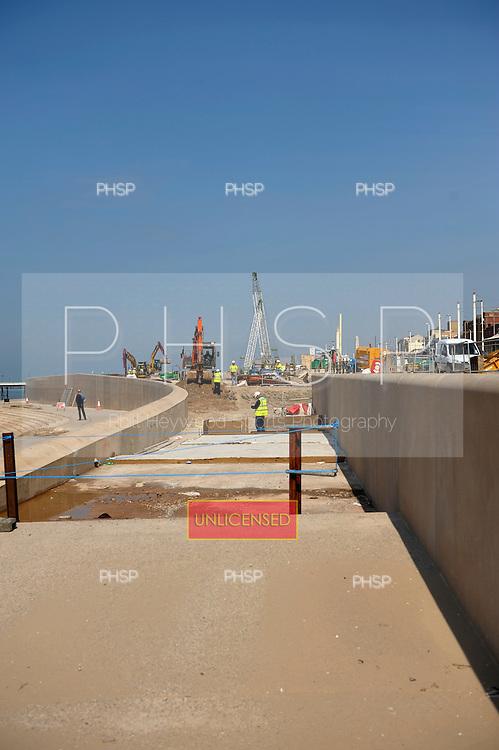 Blackpool promenade new sea defences near the lifeboat station
