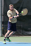 05 April 2015: Notre Dame's Josh Hagar. The University of North Carolina Tar Heels hosted the University of Notre Dame Fighting Irish at Cone-Kenfield Tennis Center in Chapel Hill, North Carolina in a 2014-15 NCAA Division I Men's Tennis match. UNC won the match 5-2.