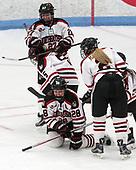 Maddie Hartman (NU - 27), Halle Silva (NU - 5), Paige Savage (NU - 28), Lauren Kelly (NU - 2), Matti Hartman (NU - 16) - The Northeastern University Huskies defeated the Boston University Terriers 2-1 in their Hockey East semi-final on Saturday, March 4, 2017, at Walter Brown Arena in Boston, Massachusetts.