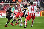 14.01.2018, RheinEnergieStadion, Koeln, GER, 1.FBL., 1. FC K&ouml;ln vs. Borussia M&ouml;nchengladbach<br /> <br /> im Bild / picture shows: <br /> Marco H&ouml;ger/Hoeger (FC K&ouml;ln #6),  Patrick Herrmann (Gladbach #7),   re Jonas Hector (FC K&ouml;ln #14),   hinten Christoph Kramer (Gladbach #6),  <br /> <br /> <br /> Foto &copy; nordphoto / Meuter