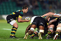 Nic Groom of Northampton Saints looks to put the ball into a scrum. Aviva Premiership match, between Northampton Saints and Bath Rugby on September 15, 2017 at Franklin's Gardens in Northampton, England. Photo by: Patrick Khachfe / Onside Images