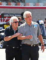 Apr 11, 2015; Las Vegas, NV, USA; NHRA top fuel driver Chris Karamesines (left) with Jim Head during qualifying for the Summitracing.com Nationals at The Strip at Las Vegas Motor Speedway. Mandatory Credit: Mark J. Rebilas-