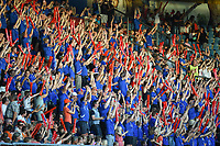 20170718 - TILBURG , NETHERLANDS : Iceland's fans znd the Hakka clapping  pictured during the female soccer game between France and Iceland  , the frist game in group C at the Women's Euro 2017 , European Championship in The Netherlands 2017 , Tuesday 18 th June 2017 at Stadion Koning Willem II  in Tilburg , The Netherlands PHOTO SPORTPIX.BE | DIRK VUYLSTEKE