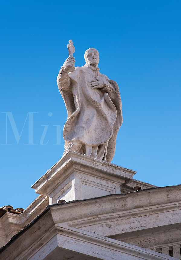 St Norbet statue, Bernini's colonnade surrounding St Peter's Square in Vatican City, Rome, Italy