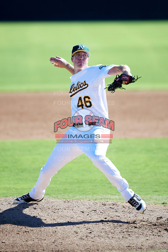 Oakland Athletics minor league pitcher Austin House #46 during an instructional league game against the San Francisco Giants at the Papago Park Baseball Complex on October 17, 2012 in Phoenix, Arizona. (Mike Janes/Four Seam Images)