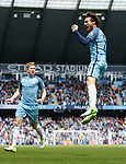 David Silva of Manchester City celebrates scoring the first goal during the English Premier League match at the Etihad Stadium, Manchester. Picture date: May 6th 2017. Pic credit should read: Simon Bellis/Sportimage