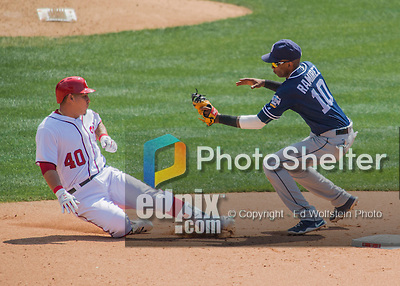 24 July 2016: Washington Nationals catcher Wilson Ramos is out at second as he tries to stretch an RBI single into a double in the 5th inning against the San Diego Padres at Nationals Park in Washington, DC. The Padres defeated the Nationals 10-6 to take the rubber match of their 3-game, weekend series. Mandatory Credit: Ed Wolfstein Photo *** RAW (NEF) Image File Available ***