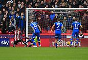 10th February 2018, Bramall Lane, Sheffield, England; EFL Championship football, Sheffield United versus Leeds United; Leon Clarke of Sheffield United sees his shot on goal go wide