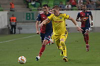 Mate Patkai (L) of Vidi FC and Aleksandar Filipovic (R) of FC BATE Borsiov fight for the ball during the UEFA Europa League match between Hungary's Videoton FC and Belarus' FC BATE Borisov at the Groupama Arena stadium in Budapest, Hungary on Sept. 20, 2018. ATTILA VOLGYI
