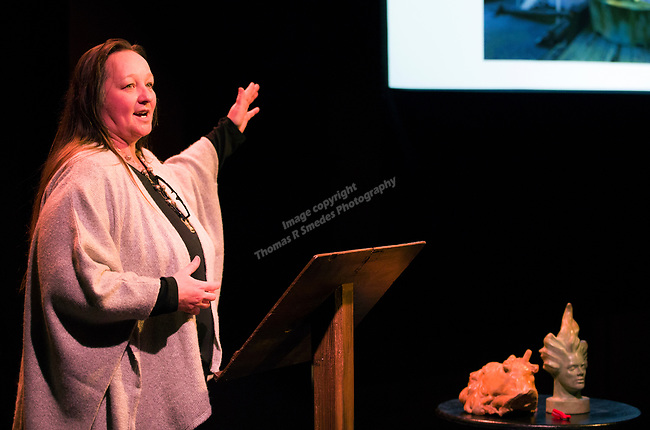 Mischell Riley talks about  sculpting women larger than life during the Take 5 fundraiser at the Bruka Theatre on Saturday night, Jan. 13, 2018.