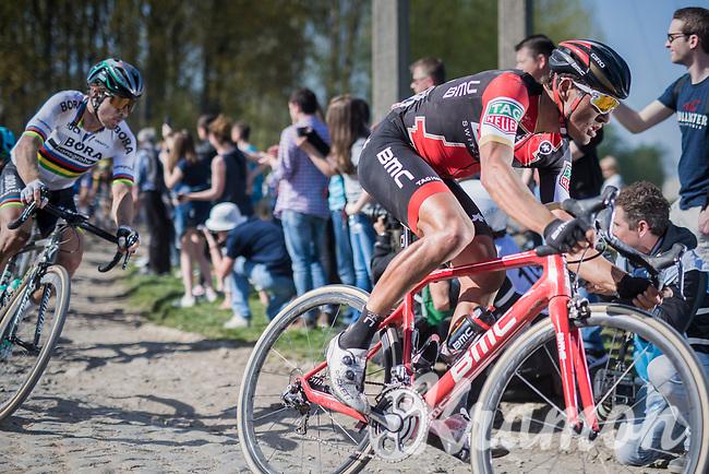 Olympic Champion Greg Van Avermaet (BEL/BMC) proceeding his big rival &amp; World Champion Peter Sagan (SVK/Bora-Hansgrohe) on the cobbles of Mons-en-P&eacute;v&egrave;le<br /> <br /> 115th Paris-Roubaix 2017 (1.UWT)<br /> One Day Race: Compi&egrave;gne &rsaquo; Roubaix (257km)