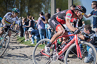 Olympic Champion Greg Van Avermaet (BEL/BMC) proceeding his big rival & World Champion Peter Sagan (SVK/Bora-Hansgrohe) on the cobbles of Mons-en-Pévèle<br /> <br /> 115th Paris-Roubaix 2017 (1.UWT)<br /> One Day Race: Compiègne › Roubaix (257km)