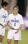 Duke's Carmen Bognanno (2) and Rachel-Rose Cohen (9) on Wednesday, November 2nd, 2005 at SAS Stadium in Cary, North Carolina. The Duke University Blue Devils defeated the Boston College Eagles 2-0 during their Atlantic Coast Conference Tournament Quarterfinal game.