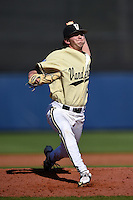 Vanderbilt Commodores pitcher Ryan Johnson (31) delivers a pitch during a game against the Indiana State Sycamores on February 21, 2015 at Charlotte Sports Park in Port Charlotte, Florida.  Indiana State defeated Vanderbilt 8-1.  (Mike Janes/Four Seam Images)