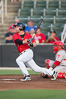 Hunter Jones (9) of the Kannapolis Intimidators follows through on his swing against the Lakewood BlueClaws at CMC-Northeast Stadium on May 16, 2015 in Kannapolis, North Carolina.  The BlueClaws defeated the Intimidators 9-7.  (Brian Westerholt/Four Seam Images)