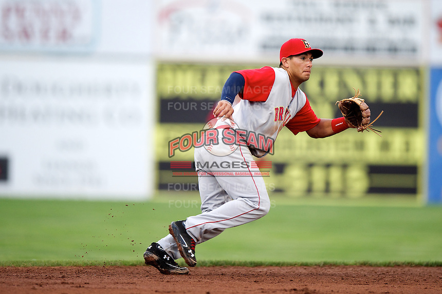 Brooklyn Cyclones shortstop Phillip Evans #28 during a game against the Batavia Muckdogs at Dwyer Stadium on July 25, 2012 in Batavia, New York.  Brooklyn defeated Batavia 3-2.  (Mike Janes/Four Seam Images)