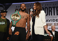 LOS ANGELES - SEPTEMBER 27: Anthony Dirrell and Heidi Androl attend the weigh-in for the September 28 Fox Sports PBC Pay-Per-View fight night in Los Angeles, California. (Photo by Frank Micelotta/Fox Sports/PictureGroup)
