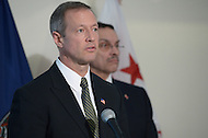 Arlington, VA - February 26, 2014: Maryland Governor Martin O'Malley speaks during a news conference following a regional meeting with District of Columbia Mayor Vincent Gray (r) and Virginia Governor Terry McAuliffe. (Photo by Don Baxter/Media Images International)
