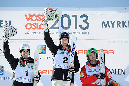 (L-R) Mikael Kingsbury, Alex Bilodeau (CAN), Patrick Deneen (USA),.MARCH 8, 2013 - Moguls :.Second placed Mikael Kingsbury of Canada, winner Alex Bilodeau of Canada and third placed Patrick Deneen of the United States stand on the podium at the flower ceremony after the men's dual moguls final during the FIS Freestyle World Ski Championships in Voss-Myrkdalen, Norway. (Photo by Hiroyuki Sato/AFLO)