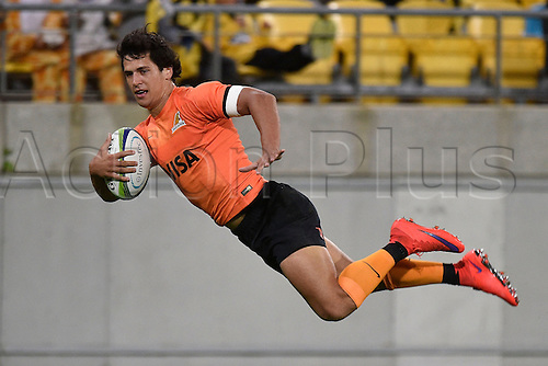 09.04.2016. Wellington, New Zealand.  Jaguares' Matías Moroni scores a try during the Hurricanes versus Jaguares Super Rugby match at the Westpac Stadium in Wellington on Saturday 9thApril 2016.