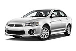 Stock pictures of low aggressive front three quarter view of 2016 Mitsubishi Lancer ES-CVT 4 Door Sedan Low Aggressive