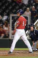 Fort Myers Miracle designated hitter Marcus Knecht (9) at bat during a game against the Tampa Yankees on April 15, 2015 at Hammond Stadium in Fort Myers, Florida.  Tampa defeated Fort Myers 3-1 in eleven innings.  (Mike Janes/Four Seam Images)