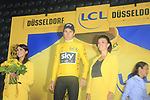 Geraint Thomas (WAL) Team Sky wins Stage 1, a 14km individual time trial around Dusseldorf, and also the 1st race leaders Yellow Jersey of the 104th edition of the Tour de France 2017, Dusseldorf, Germany. 1st July 2017.<br /> Picture: Eoin Clarke | Cyclefile<br /> <br /> <br /> All photos usage must carry mandatory copyright credit (&copy; Cyclefile | Eoin Clarke)