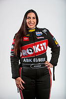 Feb 5, 2020; Pomona, CA, USA; NHRA funny car driver Alexis DeJoria poses for a portrait during NHRA Media Day at the Pomona Fairplex. Mandatory Credit: Mark J. Rebilas-USA TODAY Sports