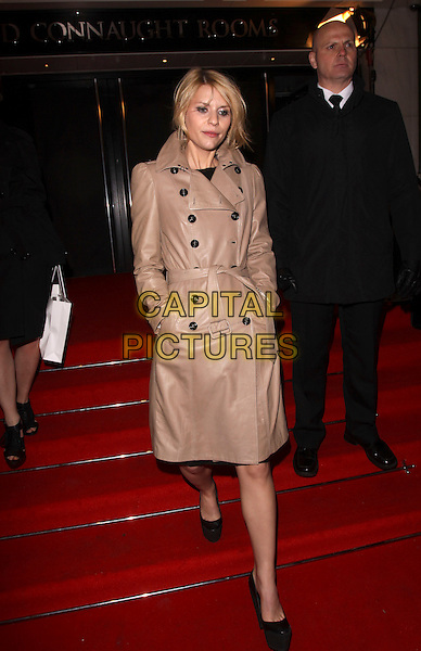 CLAIRE DANES .Leaving the ELLE Style Awards 2010, Grand Connaught Rooms, London, England, UK, February 22nd 2010..departures outs full length beige tan camel brown leather trench belted coat buttons black shoes Burberry hands in pockets steps waking clare.CAP/AH.©Adam Houghton/Capital Pictures