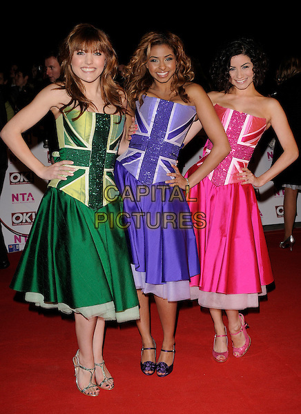 BRITANNIA HIGH - LAUREN, LOLA & CLAUDINE.The National Television Awards held at the Royal Albert Hall, London, England..October 29th, 2008.NTA red carpet arrivals full length union jack flag green purple pink dress dresses strapless cast hands on hips .CAP/CAN.©Can Nguyen/Capital Pictures.