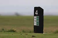 4th Tee marker during Round 3 of The West of Ireland Open Championship in Co. Sligo Golf Club, Rosses Point, Sligo on Saturday 6th April 2019.<br /> Picture:  Thos Caffrey / www.golffile.ie