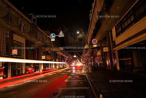 March 11, 2011, Morioka City, Iwate Prefecture, Japan - Morioka City is hit by a power outage the day of the 2011 Tohoku Earthquake and Tsunami. (Photo by Kazuhiko Kawamura/AFLO)