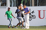 Sam Brazel of Australia celebrates after winning the tournament during the 58th UBS Hong Kong Golf Open as part of the European Tour on 11 December 2016, at the Hong Kong Golf Club, Fanling, Hong Kong, China. Photo by Vivek Prakash / Power Sport Images