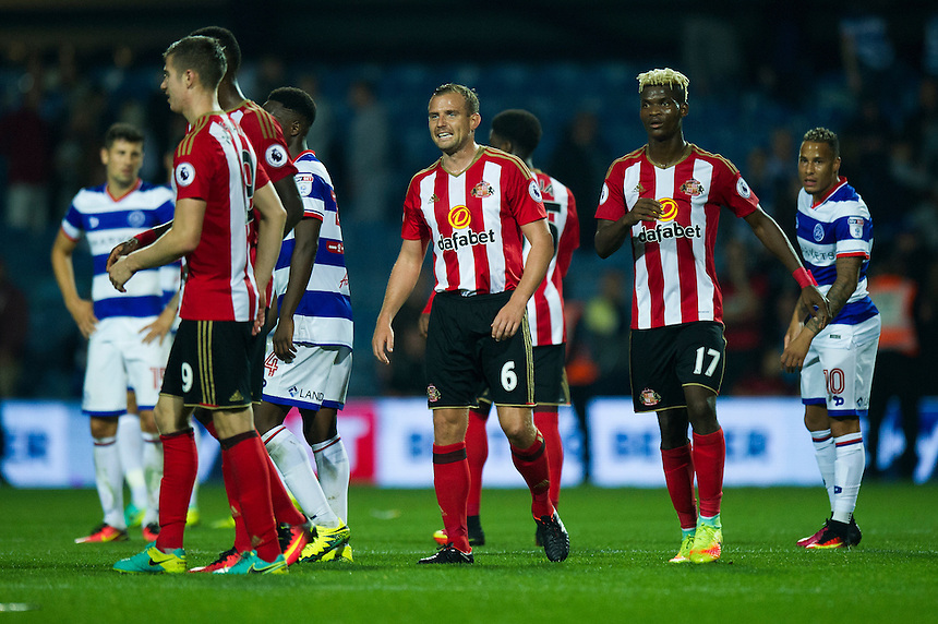 Sunderland's Lee Cattermole (centre) celebrates at the final whistle after their 2-1 victory over Queens Park Rangers<br /> <br /> Photographer Ashley Western/CameraSport<br /> <br /> The EFL Cup Third Round - Queens Park Rangers v Sunderland - Wednesday 21st September 2016 - Loftus Road - London<br />  <br /> World Copyright &copy; 2016 CameraSport. All rights reserved. 43 Linden Ave. Countesthorpe. Leicester. England. LE8 5PG - Tel: +44 (0) 116 277 4147 - admin@camerasport.com - www.camerasport.com