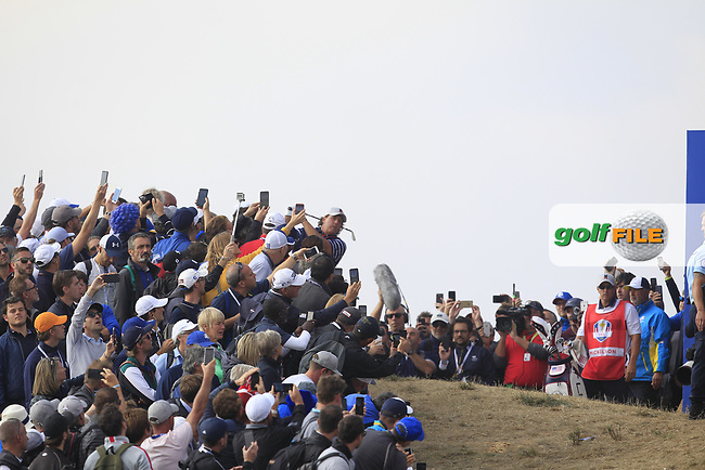 Phil Mickelson (Team USA) in the rough on the 7th during the Friday Foursomes at the Ryder Cup, Le Golf National, Ile-de-France, France. 28/09/2018.<br /> Picture Thos Caffrey / Golffile.ie<br /> <br /> All photo usage must carry mandatory copyright credit (© Golffile | Thos Caffrey)