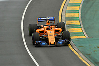 March 24, 2018: Stoffell Vandoorne (BEL) #2 from the McLaren F1 team during practice session three at the 2018 Australian Formula One Grand Prix at Albert Park, Melbourne, Australia. Photo Sydney Low
