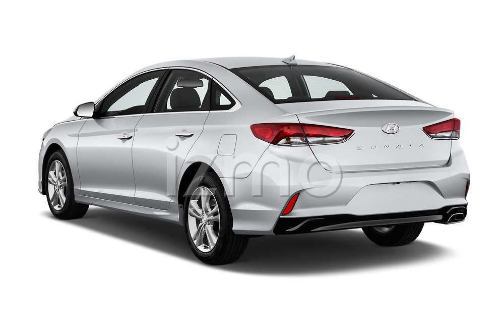 Car pictures of rear three quarter view of a 2018 Hyundai Sonata SEL 4 Door Sedan angular rear